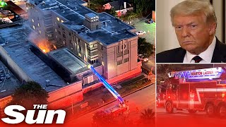 Chinese consulate in Houston appears to burn top secret documents after US ordered the office closed