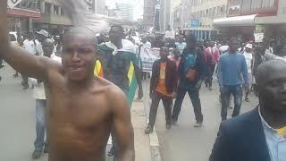 Chamisa walking among Ordinary People During Demonstration 29 Nov