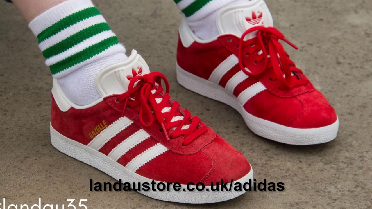ADIDAS TRAINERS MENS GAZELLE SCARLET RED WHITE GOLD 01 - YouTube 96dd81df9bf9