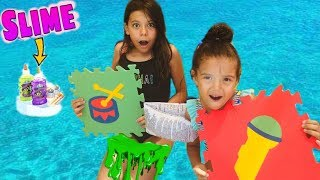 Havuzda Slime Challenge Dev Masa Oyunu Oyun Alanı | Giant Board Game Funny kids video