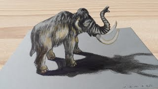 MAMMOTH ILLUSION - Drawing 3D Mammoth - Anamorphosis by Vamos