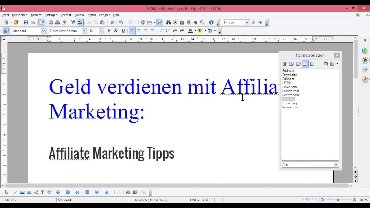 OpenOffice Seitenvorlage standard -wechseln -nur eine Seite ...