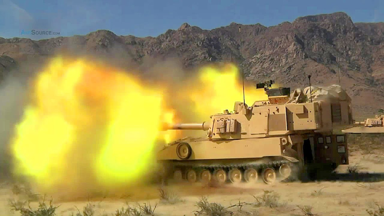M109 paladin firing the image kid has it for Direct flame