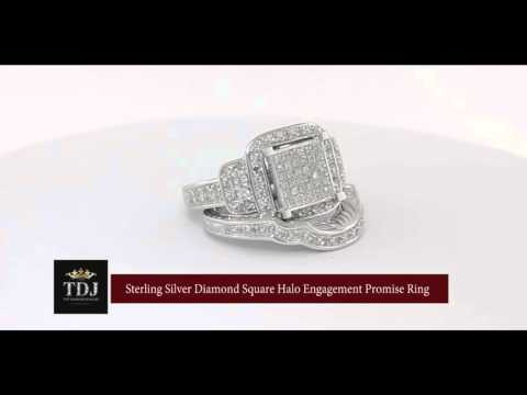 0.50ct Sterling Silver Diamond Square Halo Engagement Promise Ring Womens