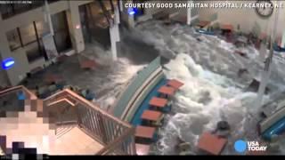 Watch a flash flood burst Nebraska hospital