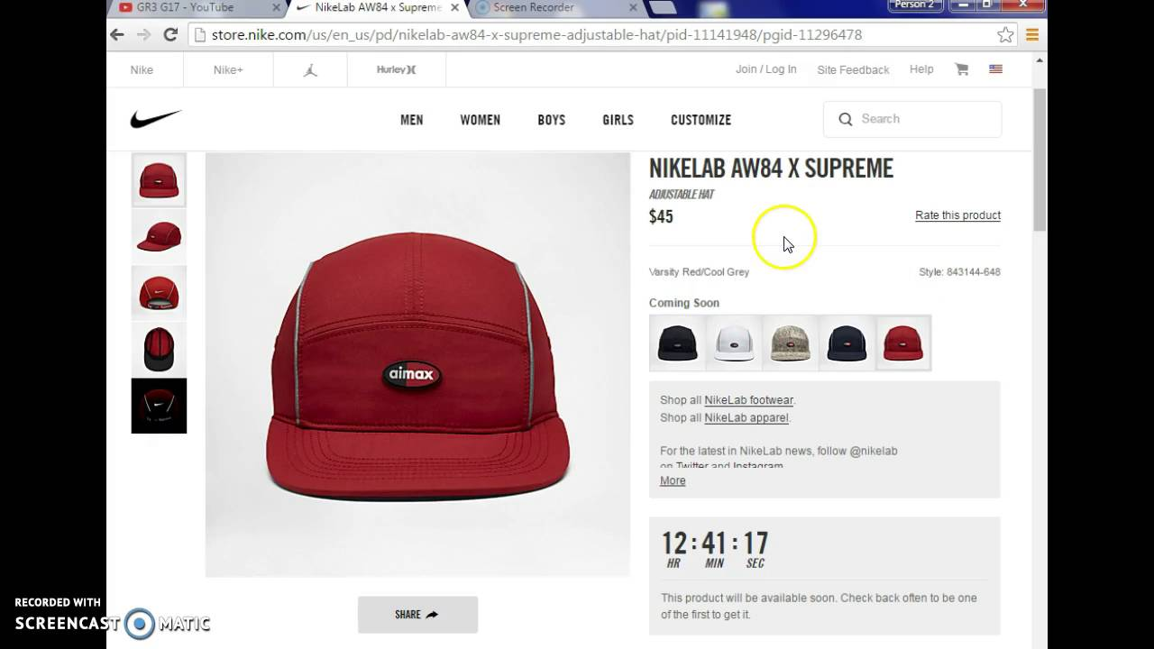 AW84 X SUPREME Hat Early Link - YouTube 37429f7d1e16
