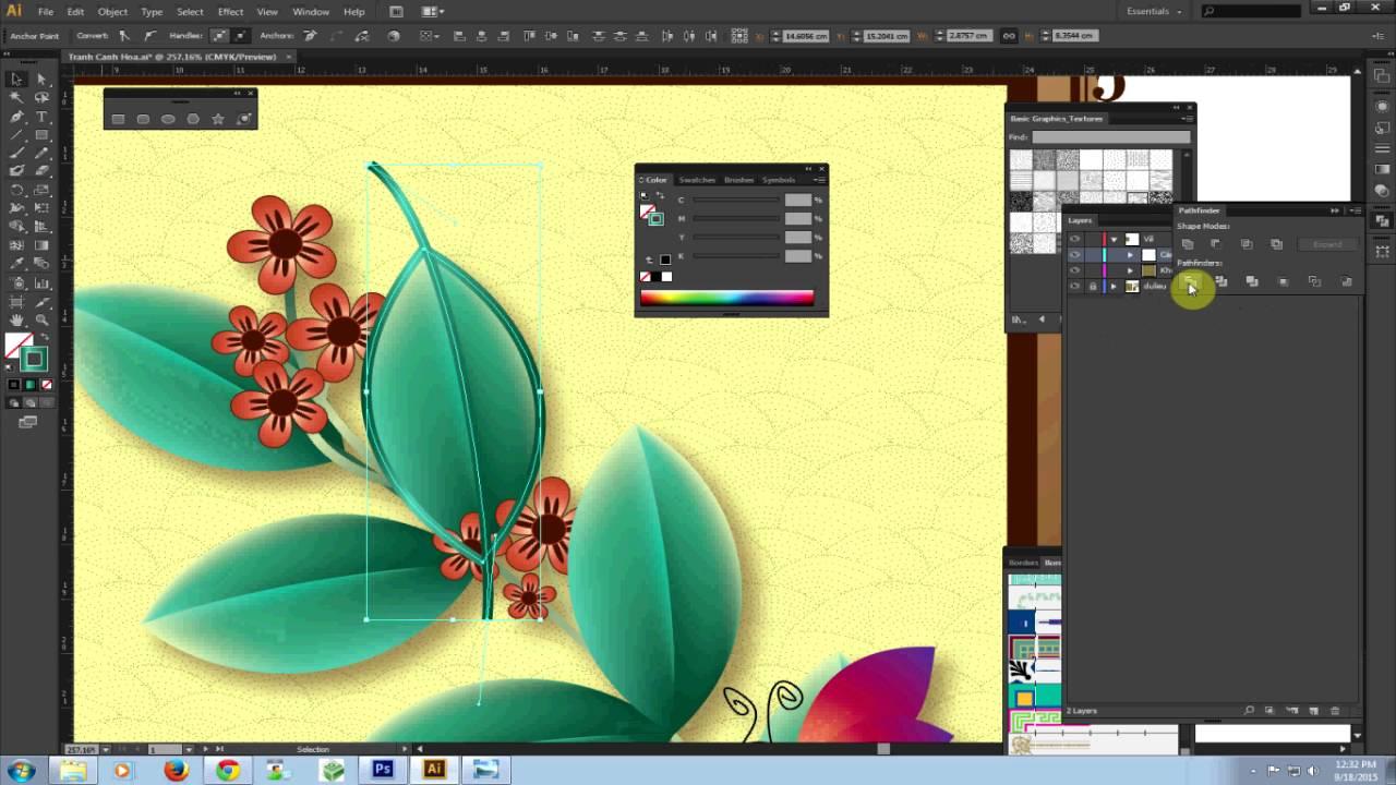 [Học Illustrator] Vẽ cành hoa – Ưng dụng lệnh tô màu Part2