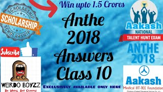 ANTHE 2018 Answers | Class 10 | 28 Oct, 2018 | Questions and Answer Key | All Codes