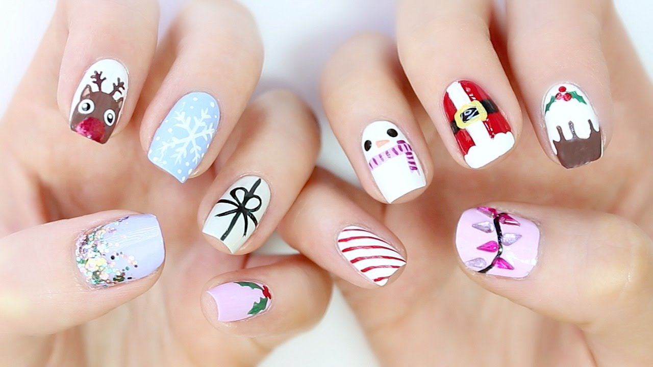 10 EASY Christmas Nail Designs! - YouTube