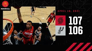 Trail Blazers 107, Spurs 106 | Game Highlights by McDelivery | April 16, 2021