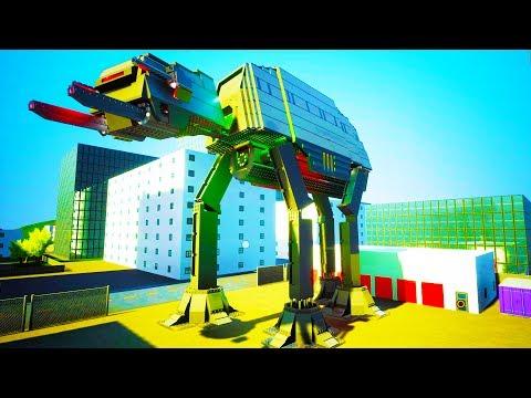 HUGE LIFE SIZE STAR WARS AT-AT WALKER DESTROYS CITY! - Brick Rigs Workshop Creations Gameplay