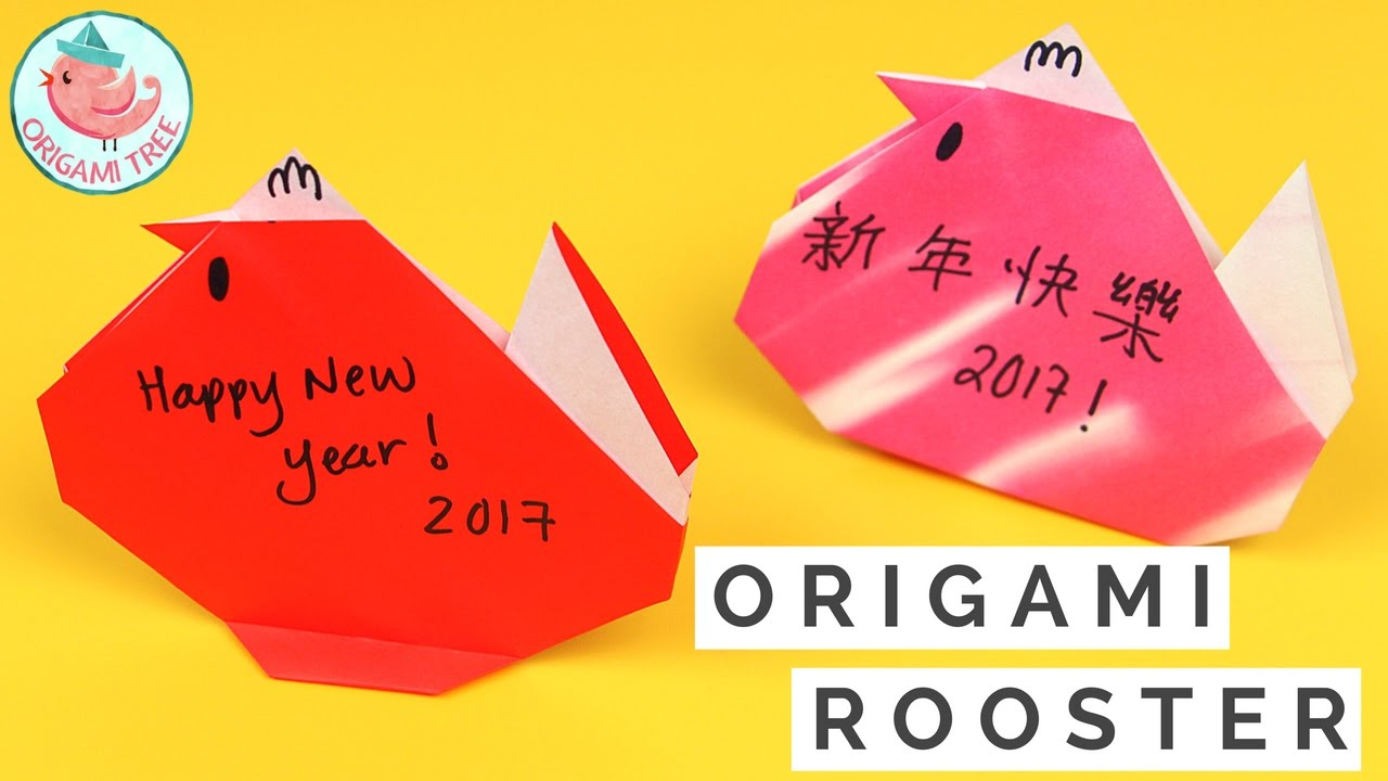 Chinese New Year Crafts Easy Origami Rooster Chicken For Kids