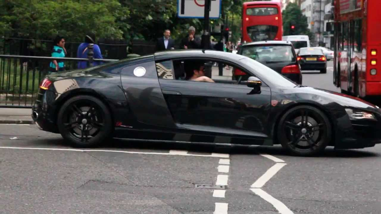 Black Amp White Audi R8 V10 Driving Amp Accalerating In London