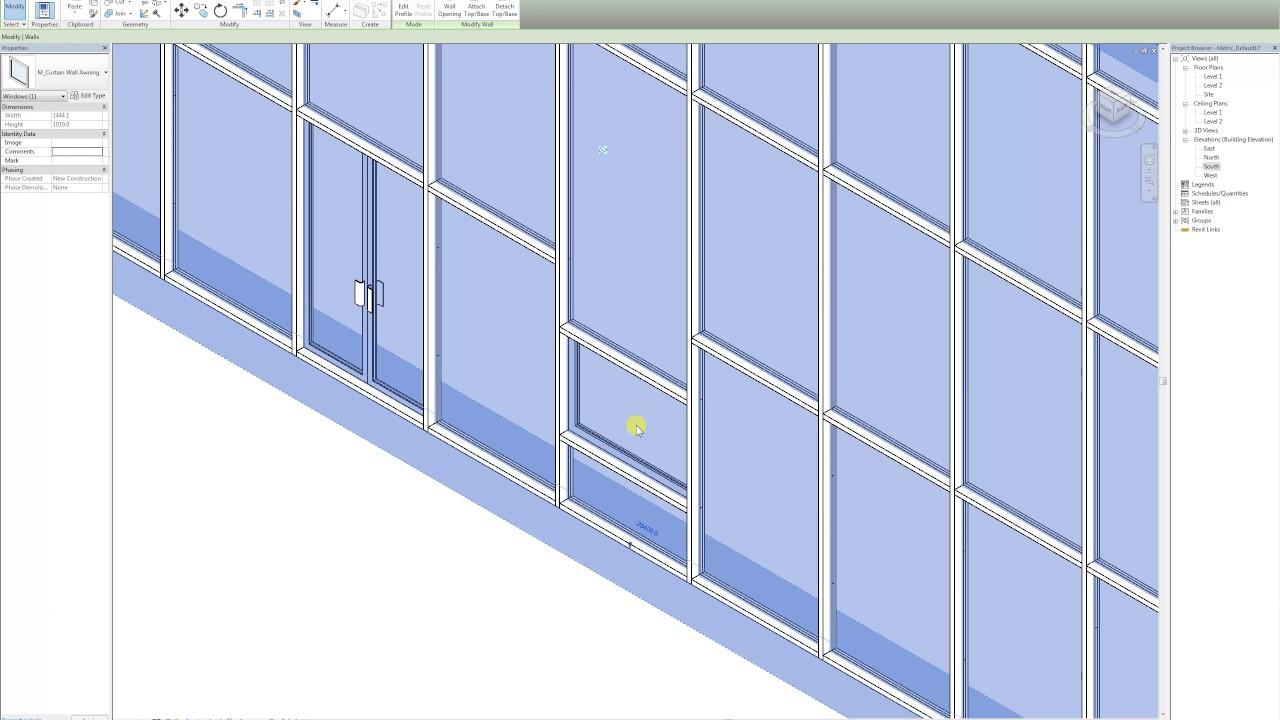 Revit 2017 Curtain Wall Insert Doors And Windows Youtube