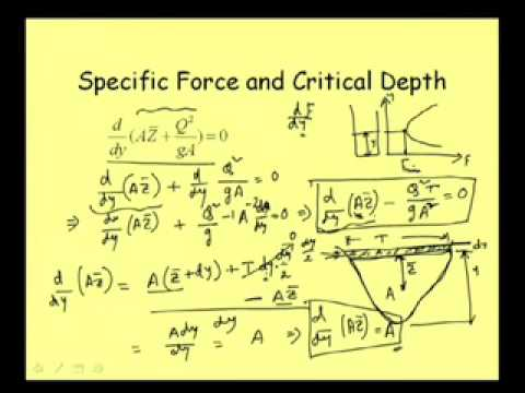 Mod-3 Lec-3 Specific Force, Critical Depth & Sequent Depth