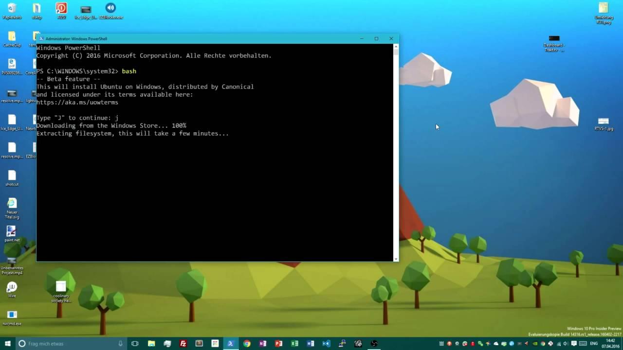 Linux bash auf Windows 10 installieren - YouTube