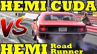 Hemi War - Hemi Cuda v Hemi Road Runner - 1/4 Mile Drag Race Video - Road Test TV
