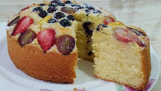 SPECIAL FRESH FRUIT PASTRY CAKE/FRESH FRUIT CAKE BY KITCHEN WITH FATIMA