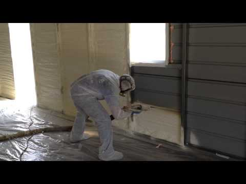 Closed cell Spray foam insulation in metal work shop by Smith Insulation