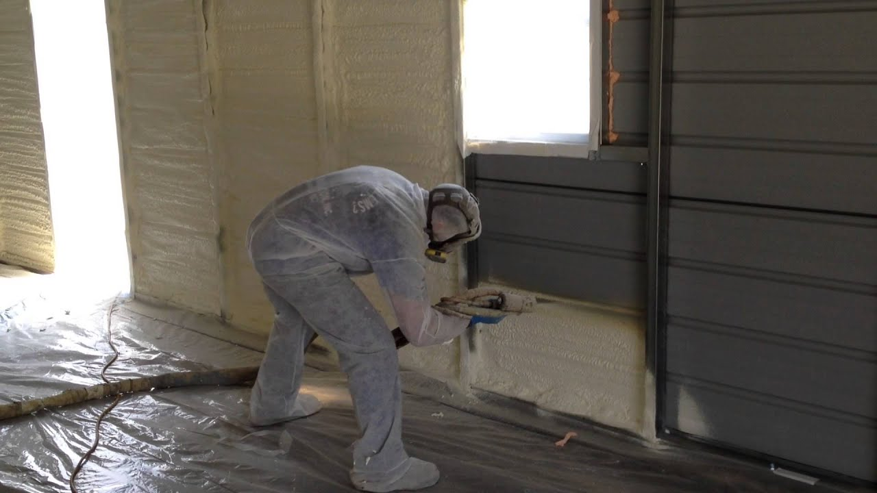 Closed cell spray foam insulation in metal work shop by smith closed cell spray foam insulation in metal work shop by smith insulation youtube solutioingenieria Choice Image