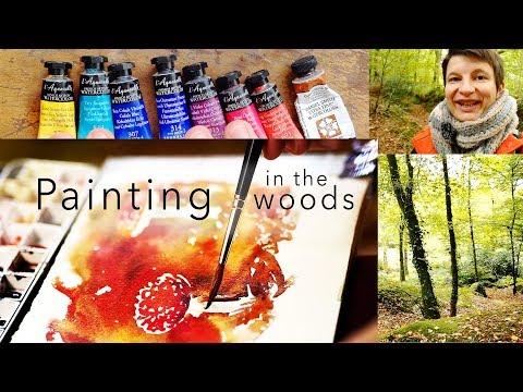 Amanites full watercolor demo and creative walk in the woods