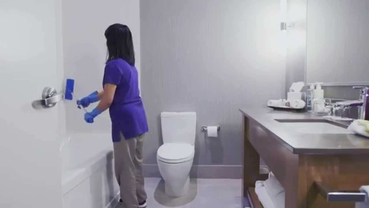 Room attendants cleaning bathrooms 3 of 7 youtube for How to properly clean a bathroom