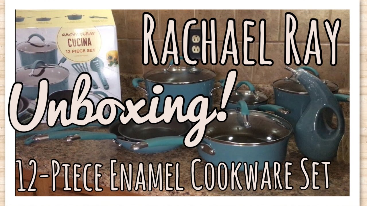 Qucina Bakeware Unboxing Rachael Ray Enamel Cookware Set First Impressions The Green Notebook