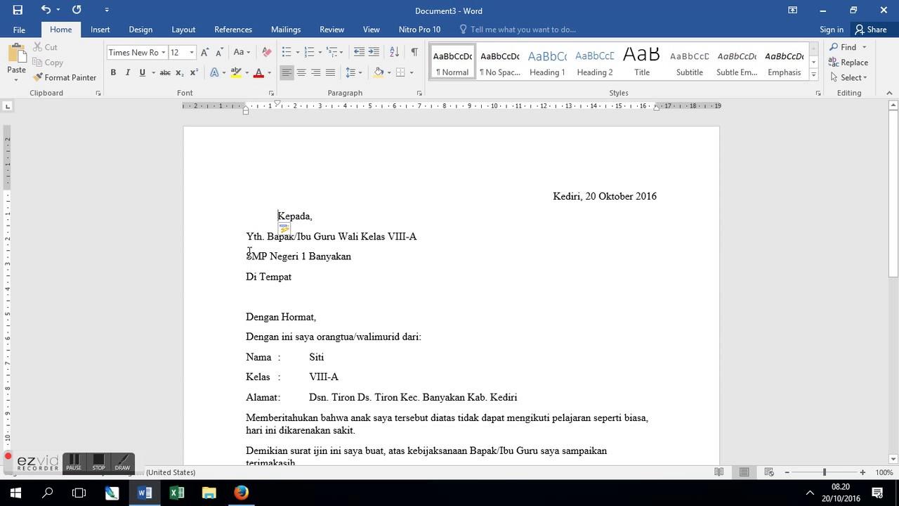 8 Contoh Surat Izin Tidak Masuk Sekolah Yang Baik Dan Benar Beserta Cara Membuatnya Thebellebrigade Com