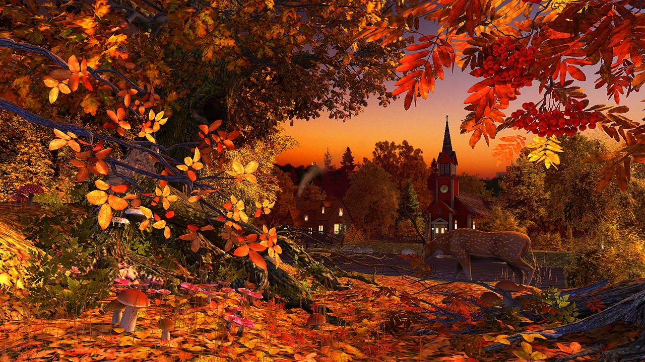 Autumn Wonderland 3D Screensaver Live Wallpaper HD