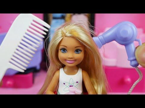 Hair shop baby doll and Barbie toys hair play