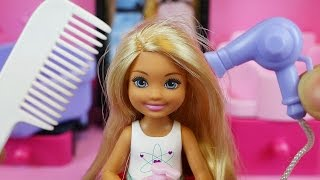 Hair shop baby doll and Barbie toys hair play