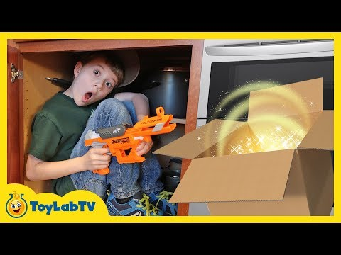 Download Youtube: Giant Surprise Dinosaur Mystery Box! Fun Kids Nerf Toys Battle & ToyLabTV Game with Dinosaurs