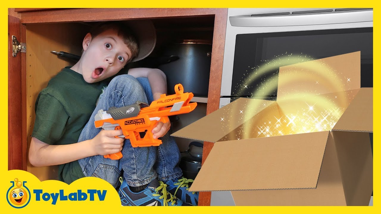 Giant Surprise Dinosaur Mystery Box! Fun Kids Nerf Toys Battle & ToyLabTV Game with Dinosaurs