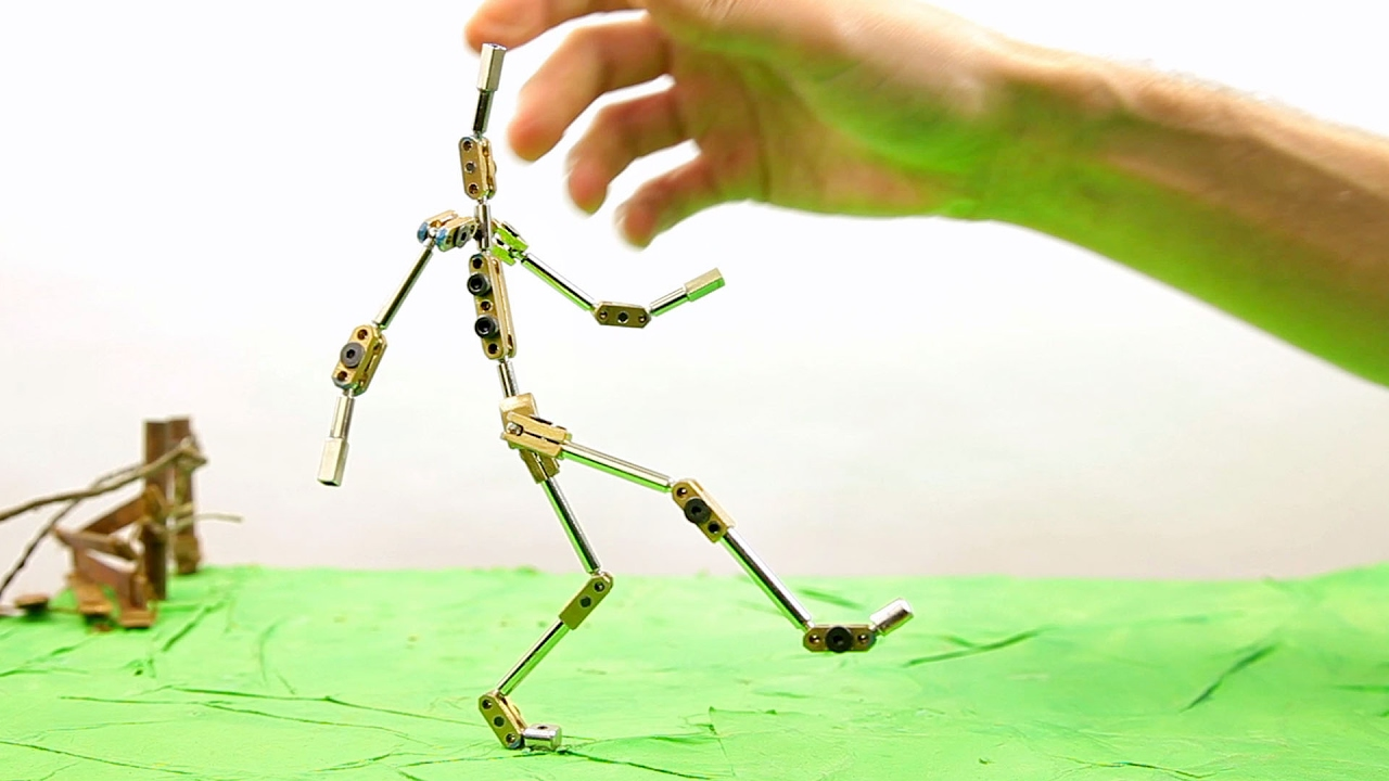 k3 stop motion animation puppet armature skeleton - YouTube
