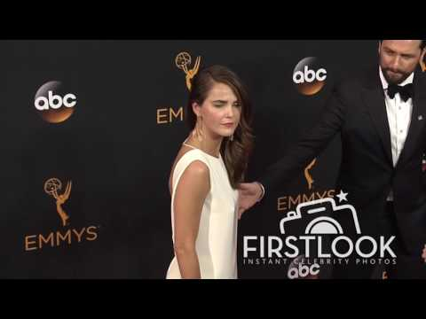 Keri Russell, Matthew Rhys arriving at the 2016 EMMY Awards