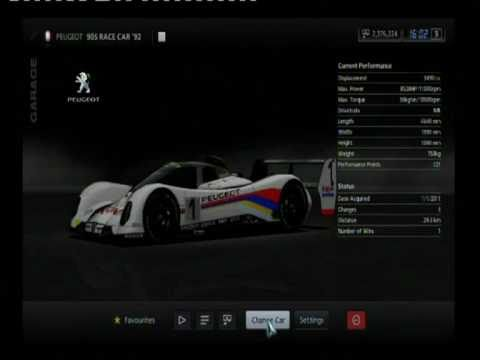 Gran Turismo 5 - List of the 23/23 Le Mans Prototypes (LMP) and Group C Race Cars