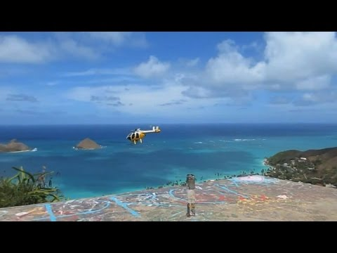Honolulu Fire Department Helicopter @ Lanikai Pillboxes Kailua Oahu Hawaii (July 2014)
