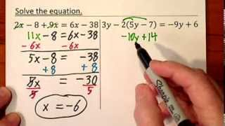 Solving Algebraic Equations (Simplify First, some Parentheses) Alg. Video 3