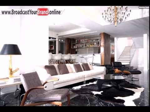 Wohnzimmer Küche Zusammen Marmorboden Schwarz Weiß Hausbar