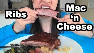 ASMR: BBQ Pork Ribs,  Macaroni & Cheese * Eating Home-cooked Southern-Style Food