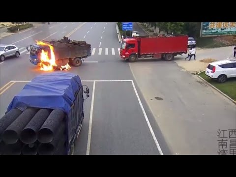 Motorcyclist Miraculously Survives After Truck Explodes In Crash