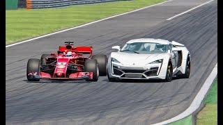 Ferrari F1 2018 vs Lykan Hypersport - Monza