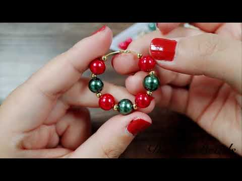 Jewelry Video Tutorial on How to Make Red & Green resin Glass Beads Christmas Ball Dangle Earrings
