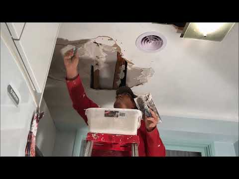 Large Water Damaged Hole in Plaster Ceiling Repair