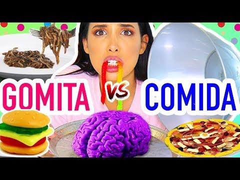 RETO: Comida de GOMITA vs Comida REAL 🍔🐛– ME COMI UN CEREBRO??  | Mariale