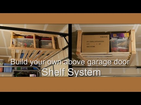 DIY Above garage door hanging shelf system