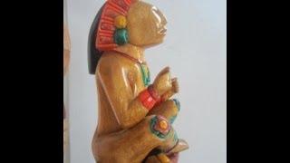 Xochipilli Aztec God of Flowers Song Dance  Pleasure OOAK cedar sculpture Mask