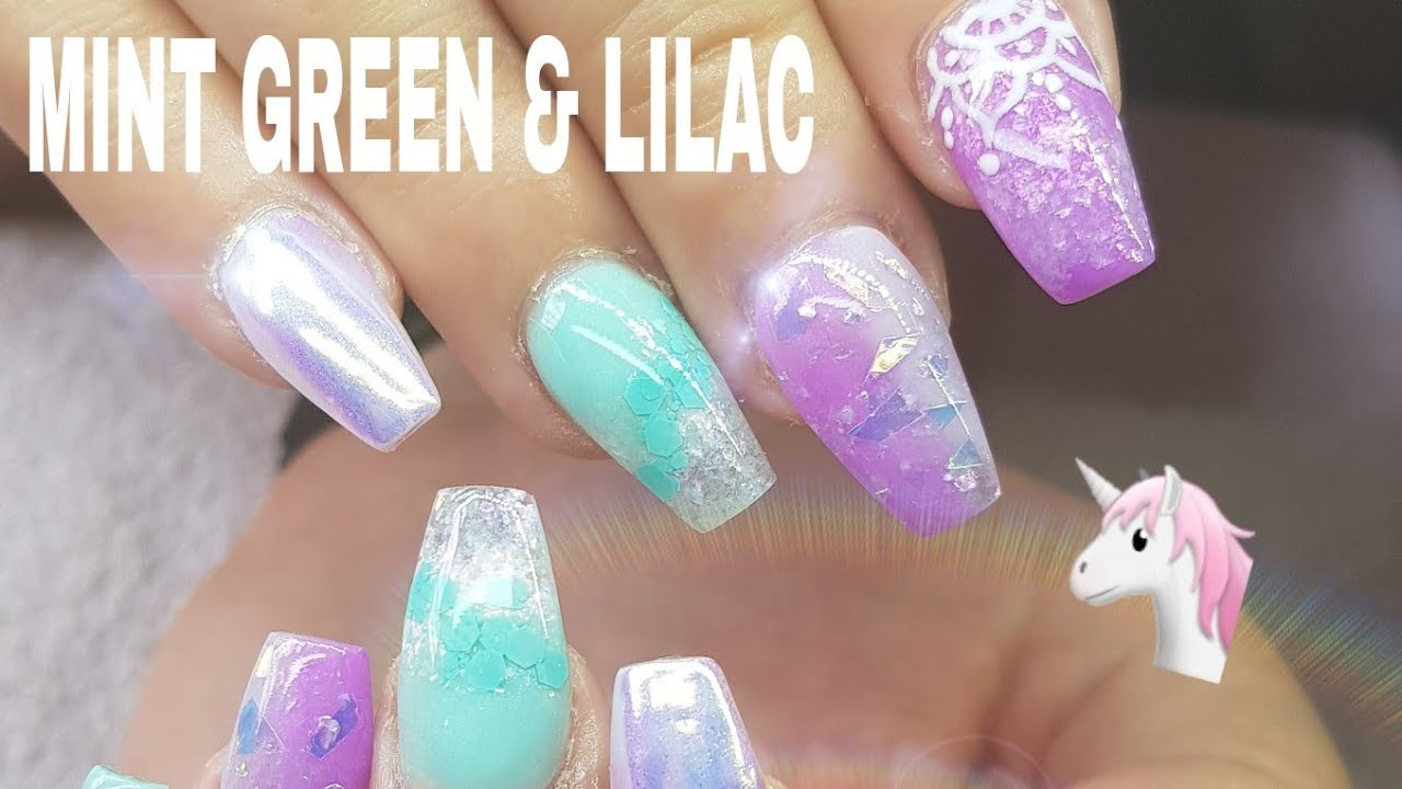 ACRYLIC NAIL DESIGN CHANGE MINT GREEN & LILAC AURORA #NOTPOLISH - ACRYLIC NAIL DESIGN CHANGE MINT GREEN & LILAC AURORA #NOTPOLISH