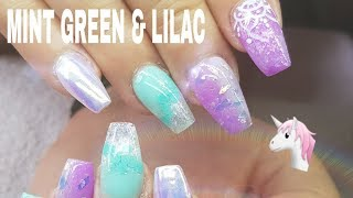 ACRYLIC NAIL DESIGN CHANGE MINT GREEN & LILAC AURORA  #NOTPOLISH