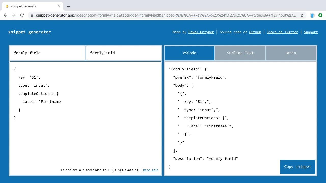 visual studio code snippets generator